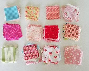 Patchwork Fabric Squares ~ Fabric destash ~ Fabric remnants ~ Leftover project squares