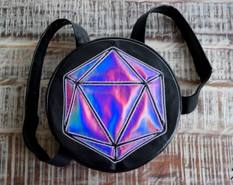 EL Wire Round Odesza Light Up Backpack for Raves Festivals Music Events . Holographic Logo Custom Bag . EDC costume.