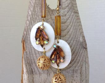Amber and mother of pearl earrings