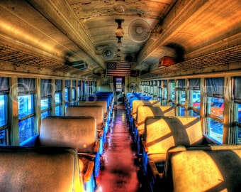 Passenger Car of an Old train, with American Flag, HDR Fine Art Photograph Print,  8x10
