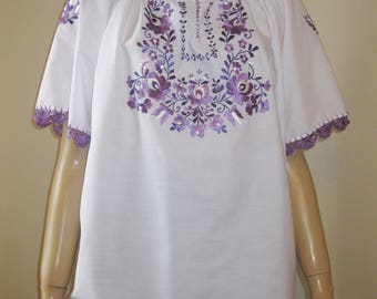 Hand embroidered Hungarian Matyo ,Kalocsa  blouse , Magyar embroidery - size S-M / purple
