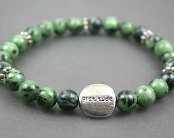 Ruby in zoisite stacking stretch bracelet with pewter gratitude bead, gratitude bead bracelet