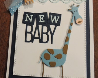 Giraffe Welcome Baby Card, Baby Shower Card, Handmade Baby Boy Card.