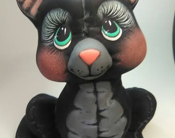 Black Cat, Ceramic Black Cat, Black Kitty, Cats, Ceramic Cats,  Hand Painted Cats, Hand Painted Ceramics