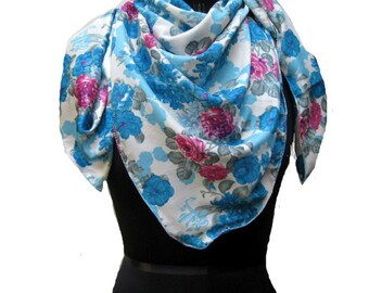 White and blue scarf/ floral scarf/ multicolored scarf / square scarf/  large scarf/ fashion scarf/ gift ideas.