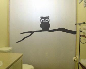 baby owl shower curtain, cute kids bathroom decor, extra long custom fabric colors