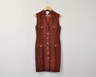 Minimal Brown Dress, Vintage 90s KENAR Dress, Simple Linen Dress, Sleeveless Button Up Dress, Basic Linen Dress, Minimal Linen Sundress