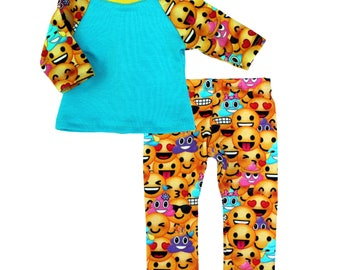 Fits like American Girl Doll Clothes - Emoji Baseball Tee and Leggings in Yellow | 18 Inch Doll Clothes