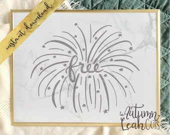 Hand Drawn Fireworks -- Svg, Png, Jpeg, DXF cut file for Silhouette, Cricut -- Instant Download July Fourth Svg Cut File - USA Clipart