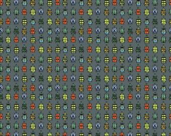Half Yard Bugs - Ladybugs in Grey - Cotton Quilt Fabric - by Jone Hallmark for Blend Fabrics (w1837)