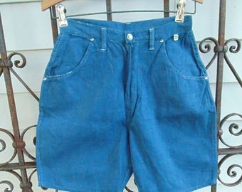 vintage 1980's high waisted denim shorts xs new old stock