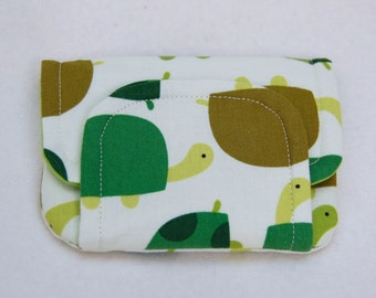 tortoises! children's fabric wallet / purse . green tortoises with dark green lining . kids coin purse . kids wallet
