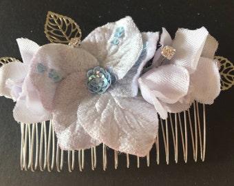 Wedding hair accessory Vintage flower hair comb handmade using vintage velvet flower and crystal beads