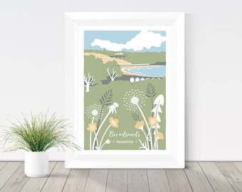 Nature print, Broadsands beach in Paignton, Devon illustration, coastal print, buttercups & dandelions, beach illustration, botanical print