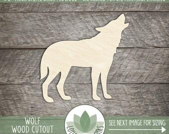 Wood Wolf Laser Cut Shape, Wood Shape, DIY Crafting Supply, Many Size Options, Blank Wood Shapes