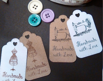 Product Label - Price Tag - Price Label - Handmade Tags - Handmade Labels - Sewing Labels - 2 Different Designs - Pack of 50