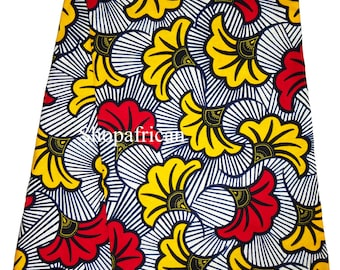 African print fabric Fleurs White Red Yellow african fabric by the yards Ankara fabric African wax Print fabric african cotton Fabric Ankara
