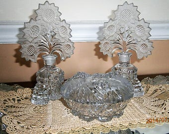 Vintage Art Deco Crystal Vanity Set /Perfume set/ Mirrored Vanity Tray / Two Perfume Bottles with Stoppers / Covered Powder Dish / I. Rice