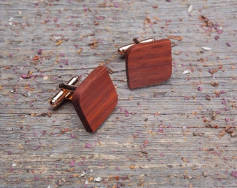 Wooden Cufflinks, Rounded Square wood cufflinks, Wedding monogrammed groomsman cuff links set of 4-6-8-10, boyfriend gifts, Father's Day