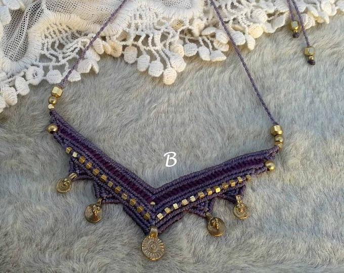 Mecrame Necklace Mod. Maite, brass & macrame necklace, gipsy necklace, tribal jewelry, water resistent, nickel free