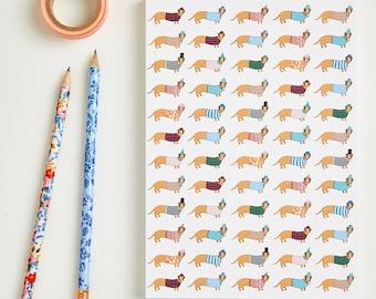 Large Long Dog Pattern Notebook