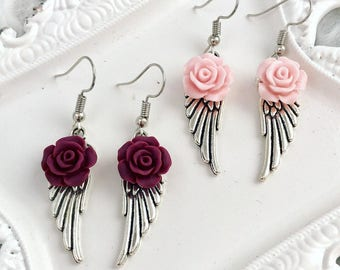 Wing Earrings, Rose Earrings, Silver Wing Earrings, Angel Earrings, Rose Dangle Earrings, Drop Earrings, Earrings for Her, Valentines Day