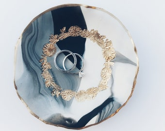 Gold Floral | Black + White Marble Clay Ring| Trinket Dishes