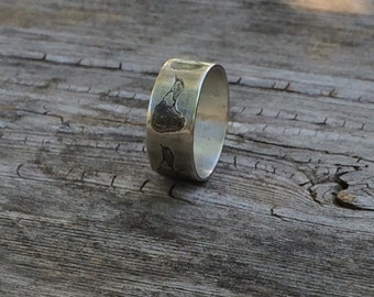 Block Island Wedding Band, sterling silver ring, oxidized island, block island jewelry, nautical jewelry, beach jewelry, island ring, beach