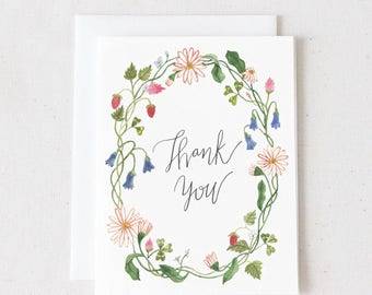 Thank You / Watercolor Greeting Card / Blank Greeting Card