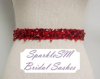 Red Bridal Sash, Wedding Sash, Bridal Belt, Crystal Sash, Rhinestone Sash, Jeweled Belt, Wedding Gown Belt, Red Bridal Belt Bridesmaids Belt
