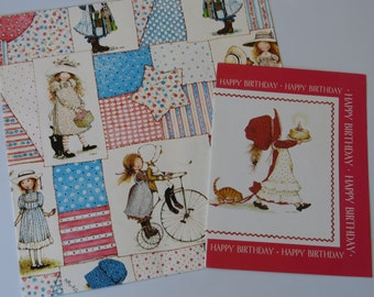 Vintage Gift Wrap Set - Wrapping Paper, & Card ~*~ Holly Hobbie ~*~