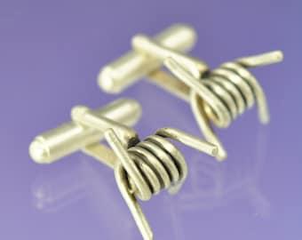 Barbed Wire Sterling Silver Cufflinks