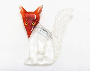 1940s Fox Brooch - Clear Carved Lucite & Root Beer Plastic Pin - 40s Figural Plastic Brooch - Vintage Vixen - Rare - 45971