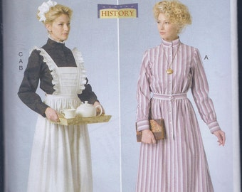 Butterick 6229 Misses Women's Edwardian Schoolmarm Housemaid Dress Costume Apron UNCUT Sewing Pattern