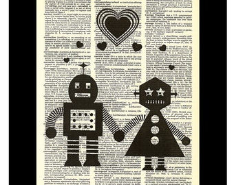Robots In Love Mr and Mrs Robot Love - Dictionary Page Art