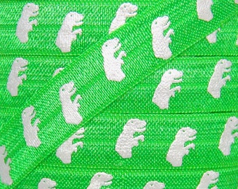 SALE Green and Silver Metallic T-Rex Print Fold Over Elastic - Elastic for Baby Headbands and Hair Ties - 5 Yards 5/8 inch Printed FOE