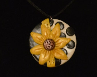 Polymer Clay Sunflower Pendant