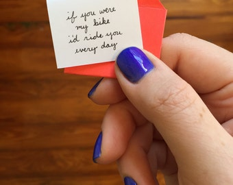 Bike Ride. Mini. Handmade. Greeting Card. Love.