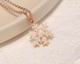 18K Rose Gold Frozen Inspired Rose Gold Necklace