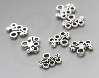 30 Pieces Oxidized Silver Tone Base Metal Multiple Strand Bar - 13x11mm (66X-E-148A)