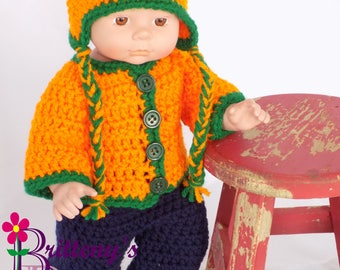 Baby Doll Clothes  Crochet Baby Doll Clothes  Crochet Baby Doll Orange Green Cardigan Sweater Ear Flap Hat Boots Baby Doll Clothing