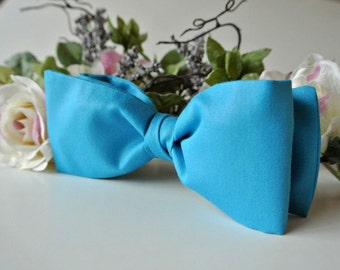 Cotton Bow Tie for Men , Robin Egg Blue Wedding , Women or Boys Bowtie , Pre-tied Clip-On , Gift for Fathers Day