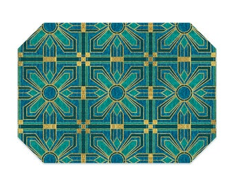 Art deco placemat, with teal, blue and faux gold , washable polyester placemats, fabric placemat, table linens, table setting