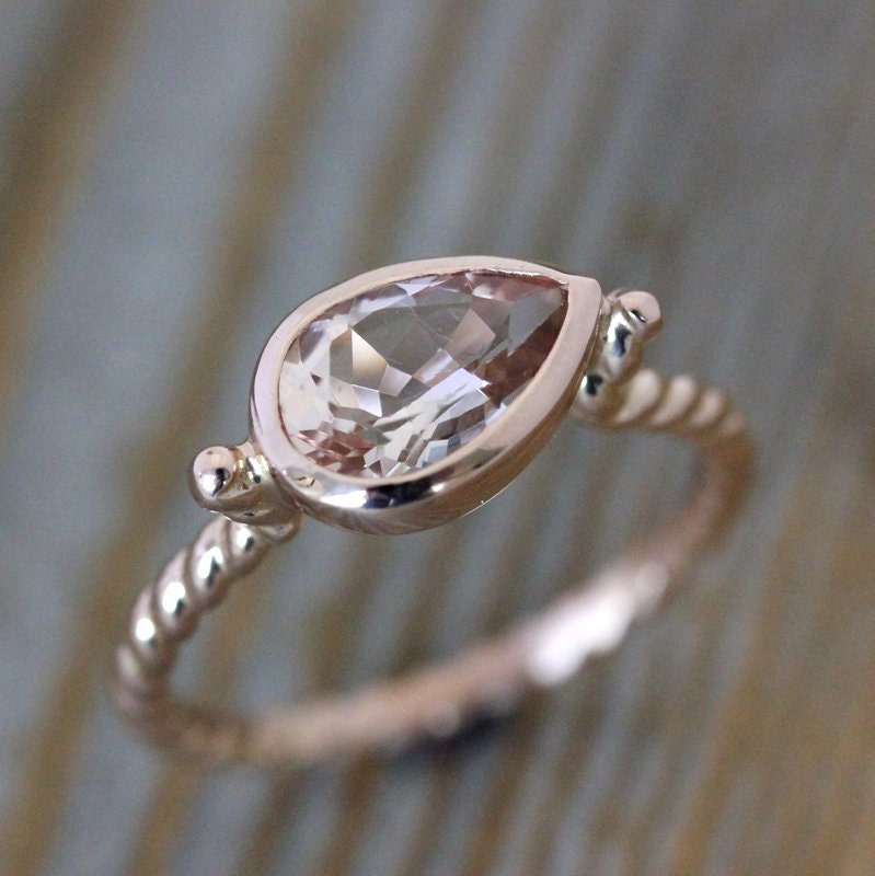 Morganite Pear Shaped Ring 14k Rose Gold Ring Nautical Ring