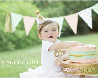 1st Birthday Smash Cake || First Birthday Hat || 1st Birthday Party Hat  || First Birthday Party Hat || Pink And Gold Party Hat