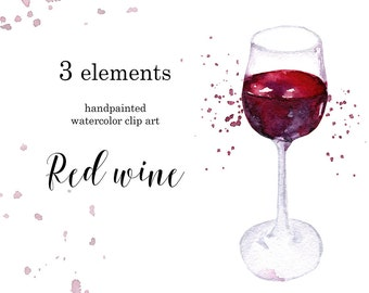 Watercolor clipart Red wine Digital Dounload Free commercial use