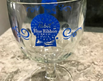 Vintage Pabst Blue Ribbon Beer Footed Glass Goblet 1970 Era