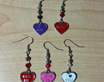 Candy Heart Earrings (avail. in several sayings/colors).