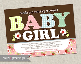 Strawberry Baby Shower Invitations - baby girl Invites - flower baby shower (DIY Printable Digital File)