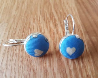 Upcycled silk tie fabric button earrings / silvertone settings / leverback earrings / blue and white heart fabric earrings / 14mm across